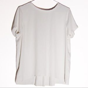 Ann Taylor LOFT Off White Pleated Blouse